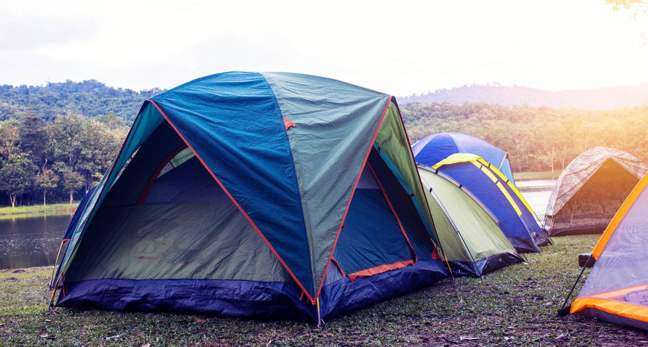 camping tents by river